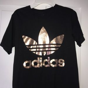 Black and Rose Gold Trefoil Adidas Tee Shirt! Xs